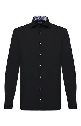 Мужская хлопковая сорочка VAN LAACK черного цвета, арт. RIVARA-LTF05N/150018 | Фото 1 (Длина (для топов): Стандартные; Материал внешний: Хлопок; Рукава: Длинные; Принт: Однотонные; Воротник: Акула; Случай: Формальный; Рубашки М: Regular Fit; Стили: Классический; Манжеты: На пуговицах)