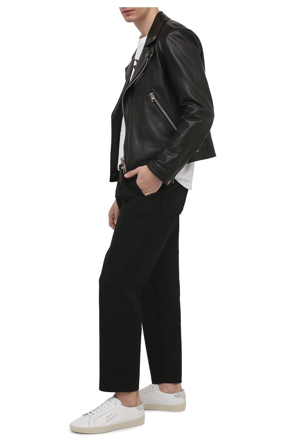 Мужские кожаные кеды court classic sl/06 SAINT LAURENT белого цвета, арт. 611352/00NA0   Фото 2 (Материал внешний: Кожа; Материал внутренний: Натуральная кожа; Подошва: Массивная)
