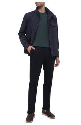 Мужские брюки из хлопка и льна ERMENEGILDO ZEGNA темно-синего цвета, арт. UWI37/TR10 | Фото 2