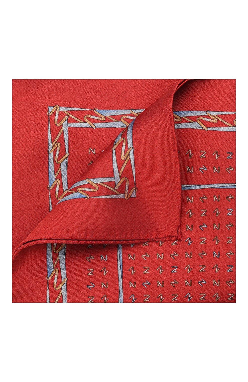 Мужской шелковый платок ZILLI красного цвета, арт. 51609/HANDKERCHIEF | Фото 1
