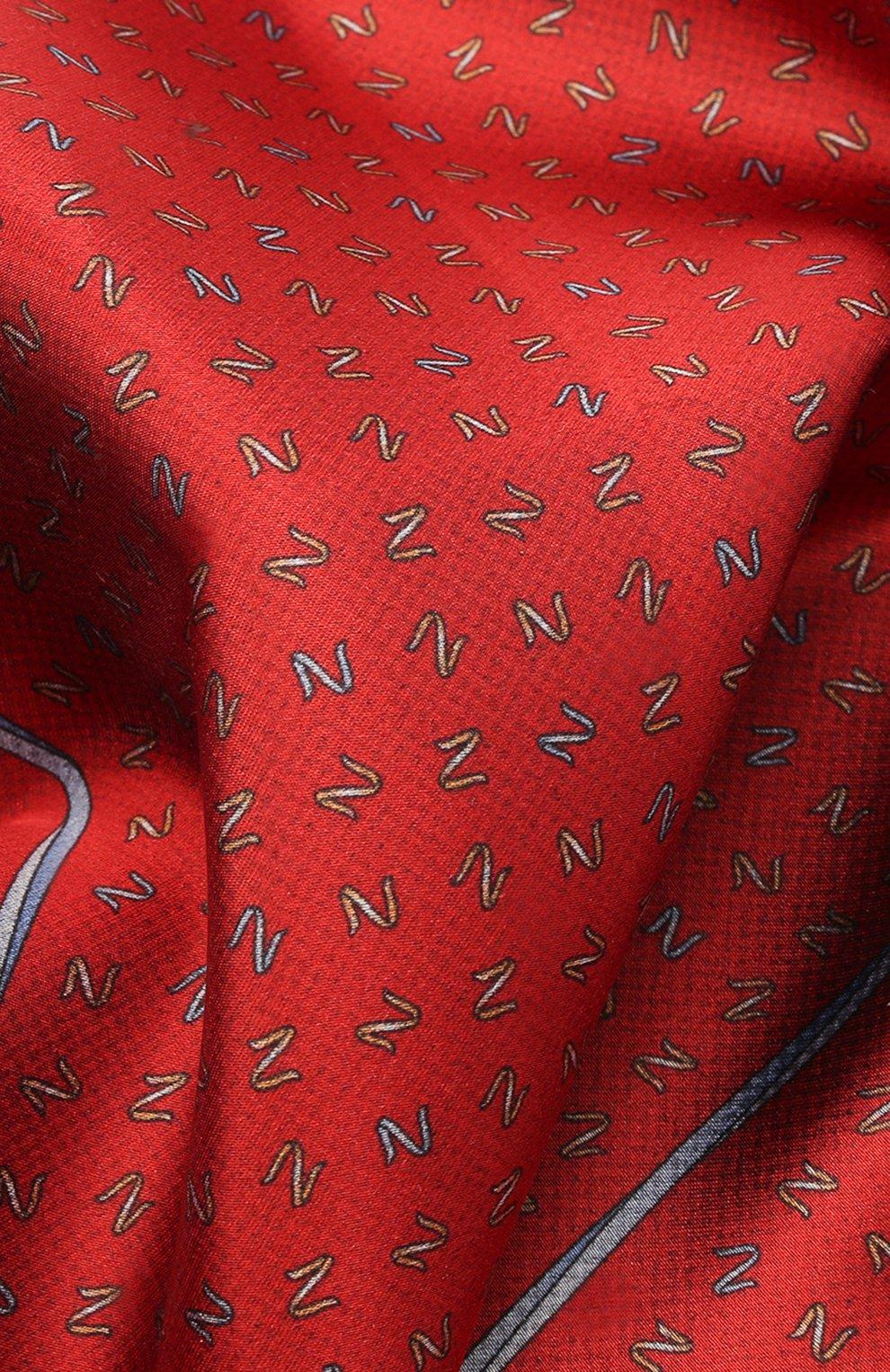 Мужской шелковый платок ZILLI красного цвета, арт. 51609/HANDKERCHIEF | Фото 2