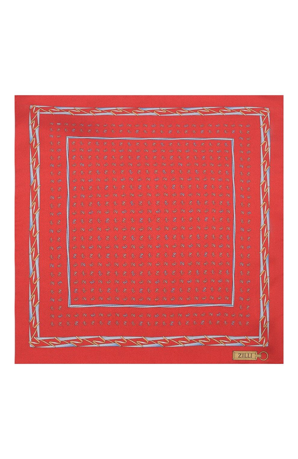 Мужской шелковый платок ZILLI красного цвета, арт. 51609/HANDKERCHIEF | Фото 3