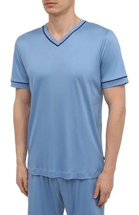Мужская пижама ZIMMERLI голубого цвета, арт. 188-96072 | Фото 2 (Материал внешний: Лиоцелл; Рукава: Короткие; Длина (для топов): Стандартные; Кросс-КТ: домашняя одежда)