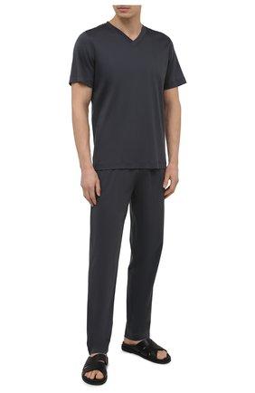 Мужская хлопковая футболка ZIMMERLI темно-серого цвета, арт. 3460-95301 | Фото 2 (Материал внешний: Хлопок; Длина (для топов): Стандартные; Рукава: Короткие; Кросс-КТ: домашняя одежда; Мужское Кросс-КТ: Футболка-белье)