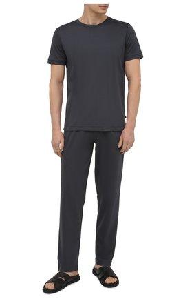 Мужские хлопковые домашние брюки ZIMMERLI темно-серого цвета, арт. 3460-95304 | Фото 2 (Длина (брюки, джинсы): Стандартные; Материал внешний: Хлопок; Кросс-КТ: домашняя одежда; Мужское Кросс-КТ: Брюки-белье)