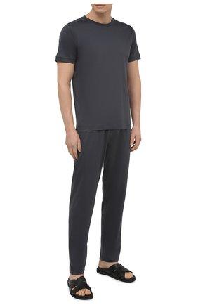 Мужская хлопковая футболка ZIMMERLI темно-серого цвета, арт. 3460-96046 | Фото 2 (Рукава: Короткие; Длина (для топов): Стандартные; Материал внешний: Хлопок; Мужское Кросс-КТ: Футболка-белье; Кросс-КТ: домашняя одежда)