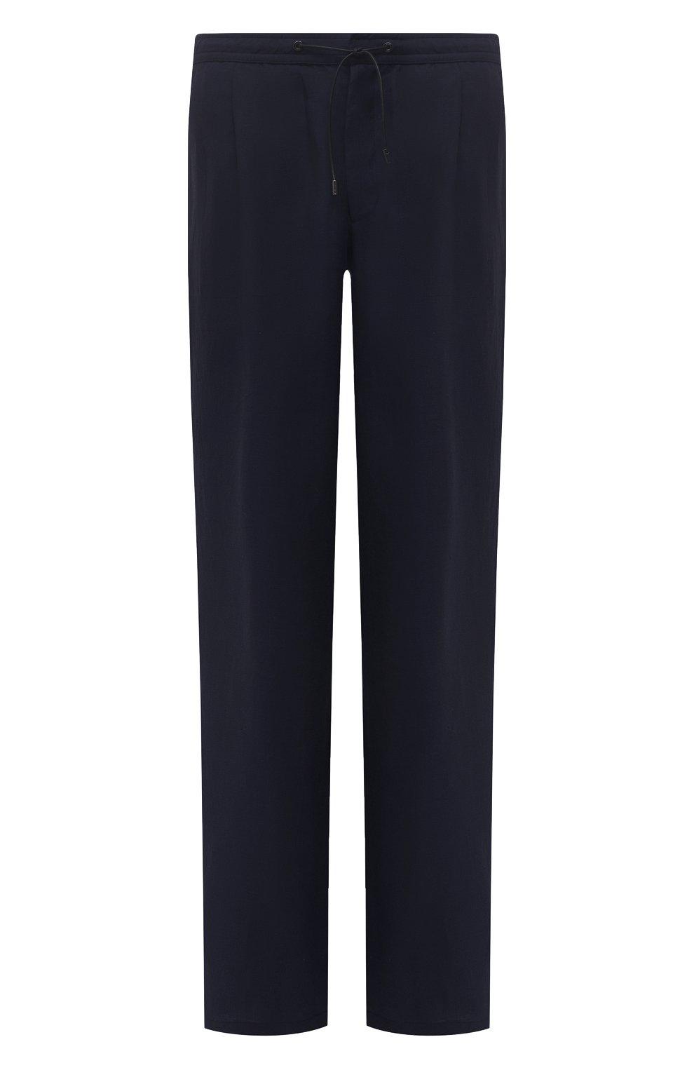 Мужские льняные брюки BRIONI темно-синего цвета, арт. RPMJ0M/P6114/NEW JAMAICA   Фото 1 (Длина (брюки, джинсы): Стандартные; Случай: Повседневный; Материал внешний: Лен; Стили: Кэжуэл)
