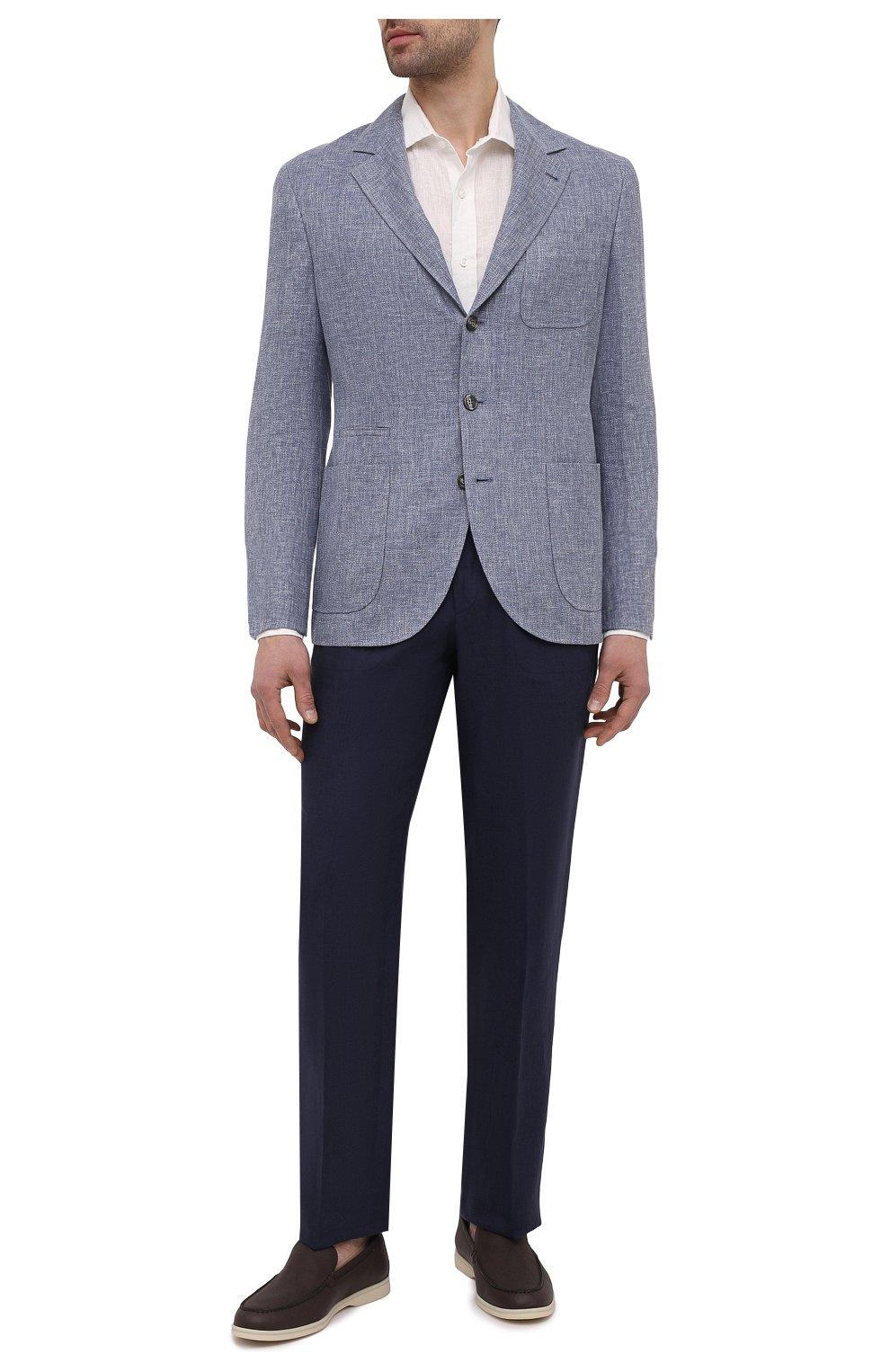 Мужские льняные брюки BRIONI темно-синего цвета, арт. RPMJ0M/P6114/NEW JAMAICA   Фото 2 (Длина (брюки, джинсы): Стандартные; Случай: Повседневный; Материал внешний: Лен; Стили: Кэжуэл)