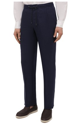 Мужские льняные брюки BRIONI темно-синего цвета, арт. RPMJ0M/P6114/NEW JAMAICA   Фото 3 (Длина (брюки, джинсы): Стандартные; Случай: Повседневный; Материал внешний: Лен; Стили: Кэжуэл)