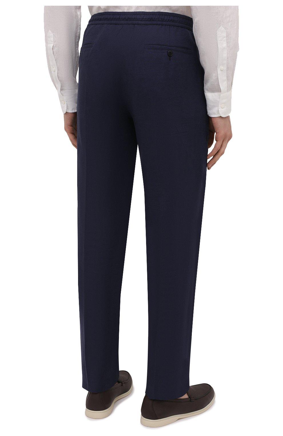 Мужские льняные брюки BRIONI темно-синего цвета, арт. RPMJ0M/P6114/NEW JAMAICA   Фото 4 (Длина (брюки, джинсы): Стандартные; Случай: Повседневный; Материал внешний: Лен; Стили: Кэжуэл)