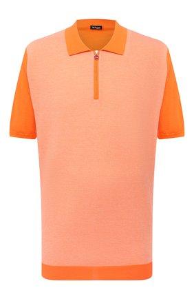 Мужское хлопковое поло KITON оранжевого цвета, арт. UK1253L | Фото 1