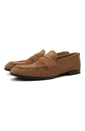 Мужские замшевые пенни-лоферы TOD'S светло-коричневого цвета, арт. XXM02E0EC600A6 | Фото 1 (Материал внутренний: Натуральная кожа; Мужское Кросс-КТ: Лоферы-обувь; Стили: Кэжуэл; Материал внешний: Замша)