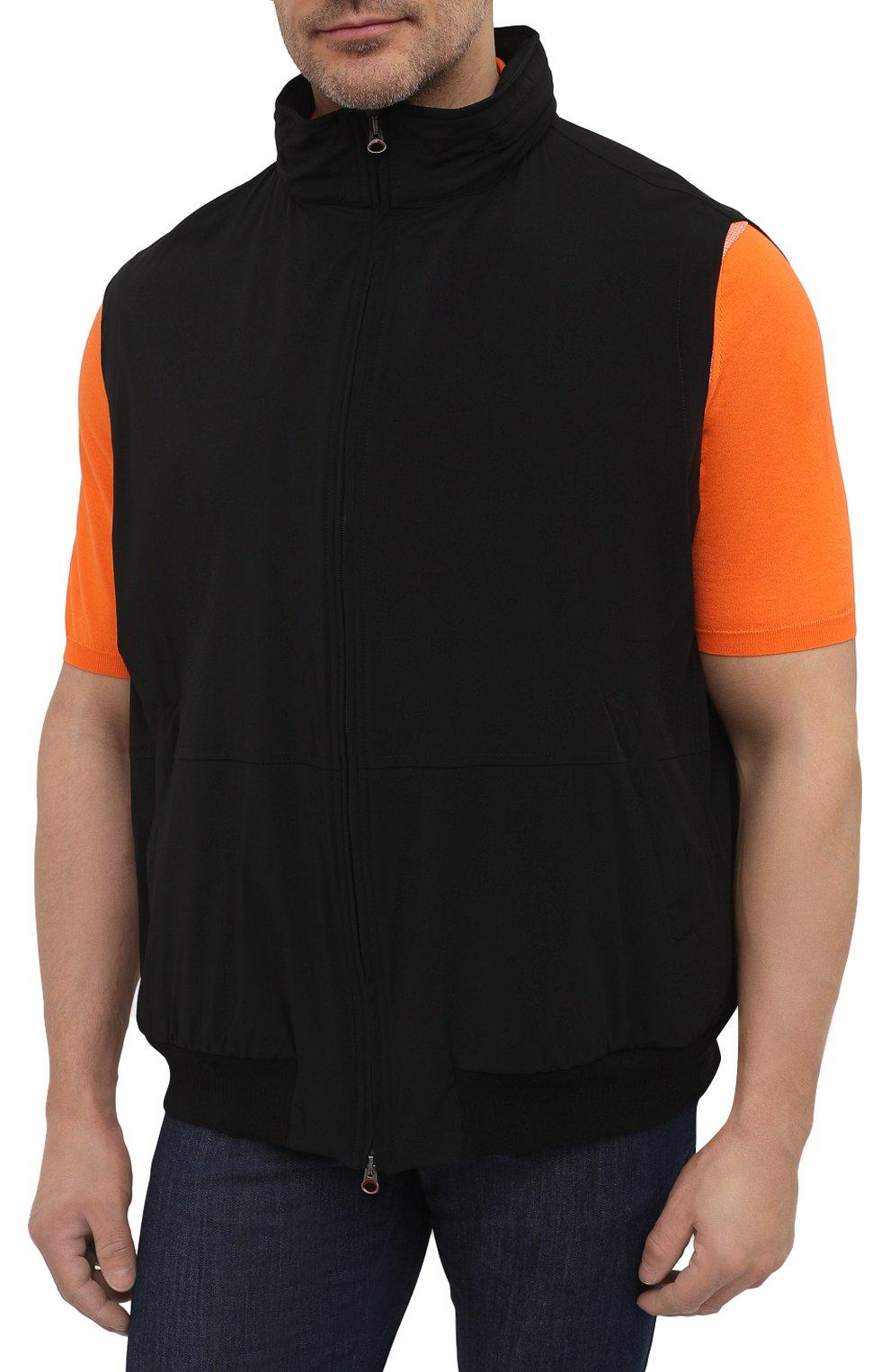 Мужской жилет KIRED черного цвета, арт. WMAXBSMW6905014000/64-74   Фото 3 (Кросс-КТ: Куртка; Big sizes: Big Sizes; Материал внешний: Синтетический материал; Длина (верхняя одежда): Короткие; Стили: Кэжуэл)