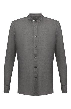 Мужская льняная рубашка 120% LINO темно-серого цвета, арт. T0M1159/B317/S00 | Фото 1