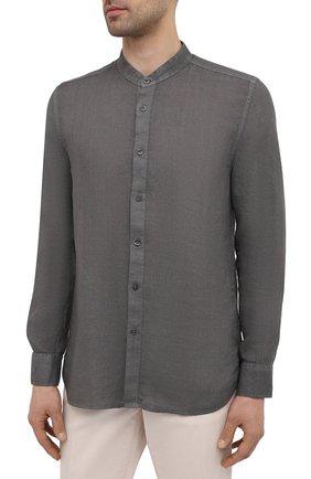 Мужская льняная рубашка 120% LINO темно-серого цвета, арт. T0M1159/B317/S00   Фото 3 (Манжеты: На пуговицах; Рукава: Длинные; Случай: Повседневный; Длина (для топов): Стандартные; Материал внешний: Лен; Принт: Однотонные; Воротник: Мандарин; Стили: Кэжуэл)