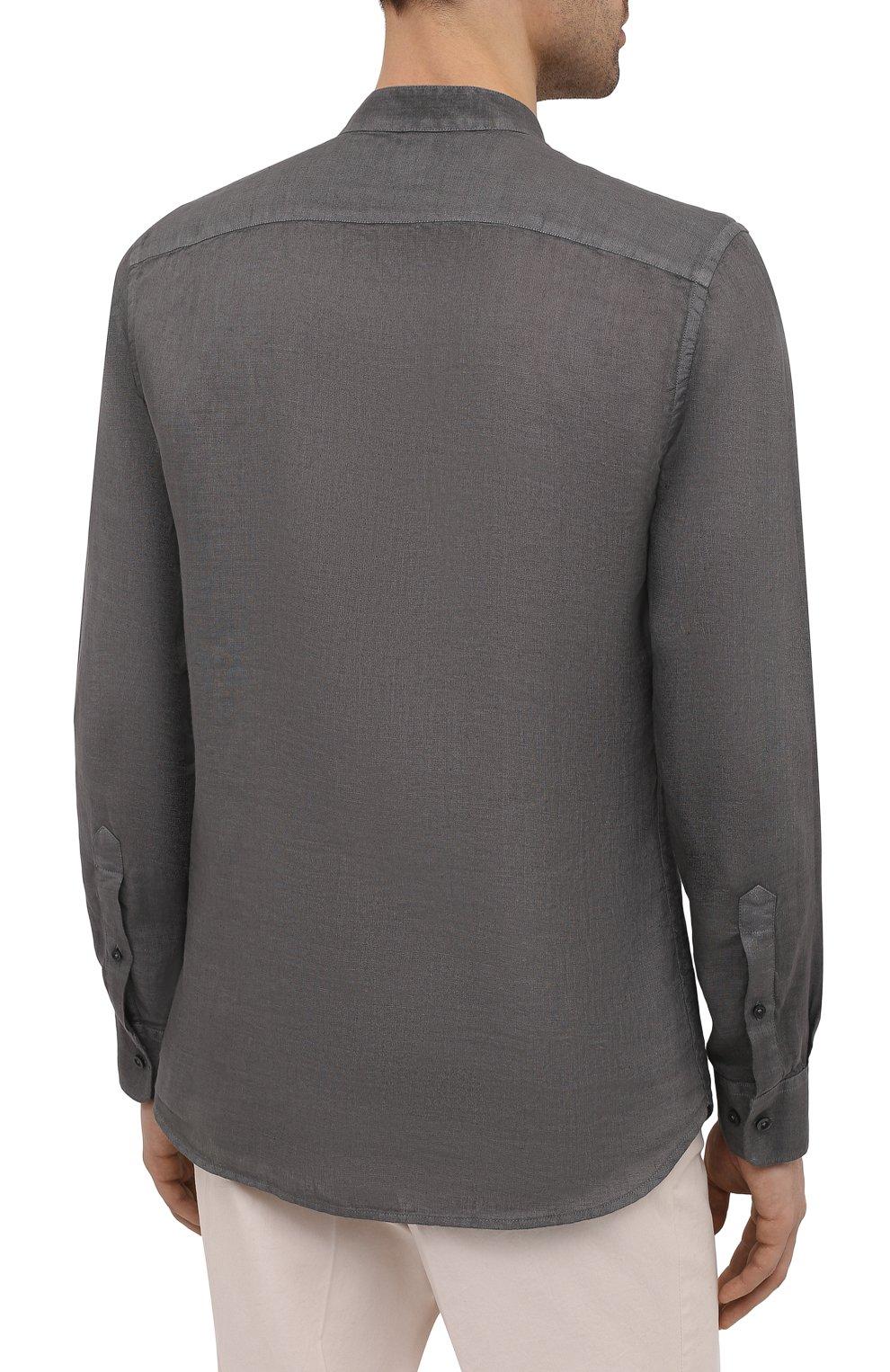 Мужская льняная рубашка 120% LINO темно-серого цвета, арт. T0M1159/B317/S00   Фото 4 (Манжеты: На пуговицах; Рукава: Длинные; Случай: Повседневный; Длина (для топов): Стандартные; Материал внешний: Лен; Принт: Однотонные; Воротник: Мандарин; Стили: Кэжуэл)