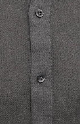 Мужская льняная рубашка 120% LINO темно-серого цвета, арт. T0M1159/B317/S00   Фото 5 (Манжеты: На пуговицах; Рукава: Длинные; Случай: Повседневный; Длина (для топов): Стандартные; Материал внешний: Лен; Принт: Однотонные; Воротник: Мандарин; Стили: Кэжуэл)