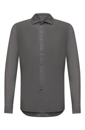 Мужская льняная рубашка 120% LINO темно-серого цвета, арт. T0M1311/B317/S00 | Фото 1