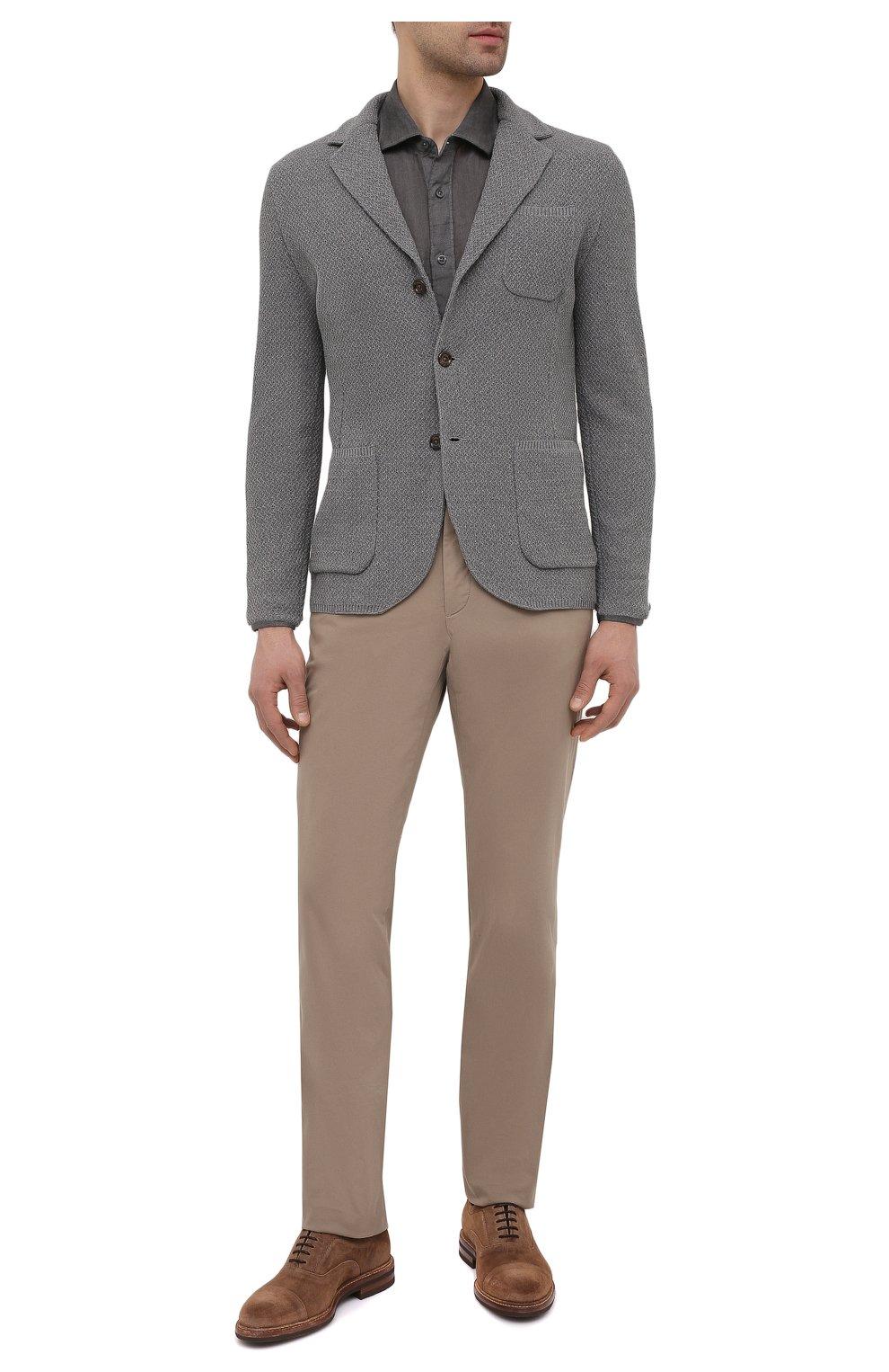 Мужская льняная рубашка 120% LINO темно-серого цвета, арт. T0M1311/B317/S00 | Фото 2 (Манжеты: На пуговицах; Рукава: Длинные; Воротник: Акула; Случай: Повседневный; Длина (для топов): Стандартные; Материал внешний: Лен; Принт: Однотонные; Стили: Кэжуэл)