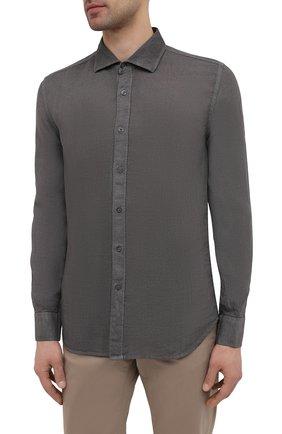 Мужская льняная рубашка 120% LINO темно-серого цвета, арт. T0M1311/B317/S00 | Фото 3 (Манжеты: На пуговицах; Рукава: Длинные; Воротник: Акула; Случай: Повседневный; Длина (для топов): Стандартные; Материал внешний: Лен; Принт: Однотонные; Стили: Кэжуэл)