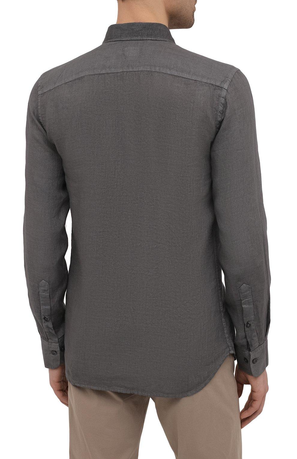Мужская льняная рубашка 120% LINO темно-серого цвета, арт. T0M1311/B317/S00 | Фото 4 (Манжеты: На пуговицах; Рукава: Длинные; Воротник: Акула; Случай: Повседневный; Длина (для топов): Стандартные; Материал внешний: Лен; Принт: Однотонные; Стили: Кэжуэл)