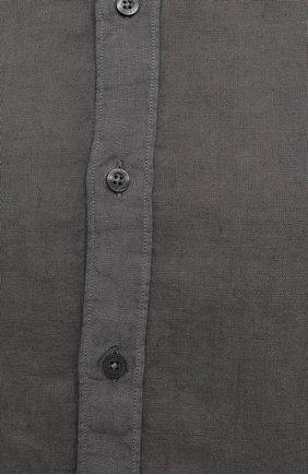 Мужская льняная рубашка 120% LINO темно-серого цвета, арт. T0M1311/B317/S00 | Фото 5 (Манжеты: На пуговицах; Рукава: Длинные; Воротник: Акула; Случай: Повседневный; Длина (для топов): Стандартные; Материал внешний: Лен; Принт: Однотонные; Стили: Кэжуэл)