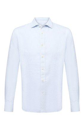 Мужская льняная рубашка 120% LINO голубого цвета, арт. T0M1311/F970/S00   Фото 1 (Длина (для топов): Стандартные; Материал внешний: Лен; Рукава: Длинные; Случай: Повседневный; Принт: Однотонные; Манжеты: На пуговицах; Воротник: Акула; Стили: Кэжуэл)