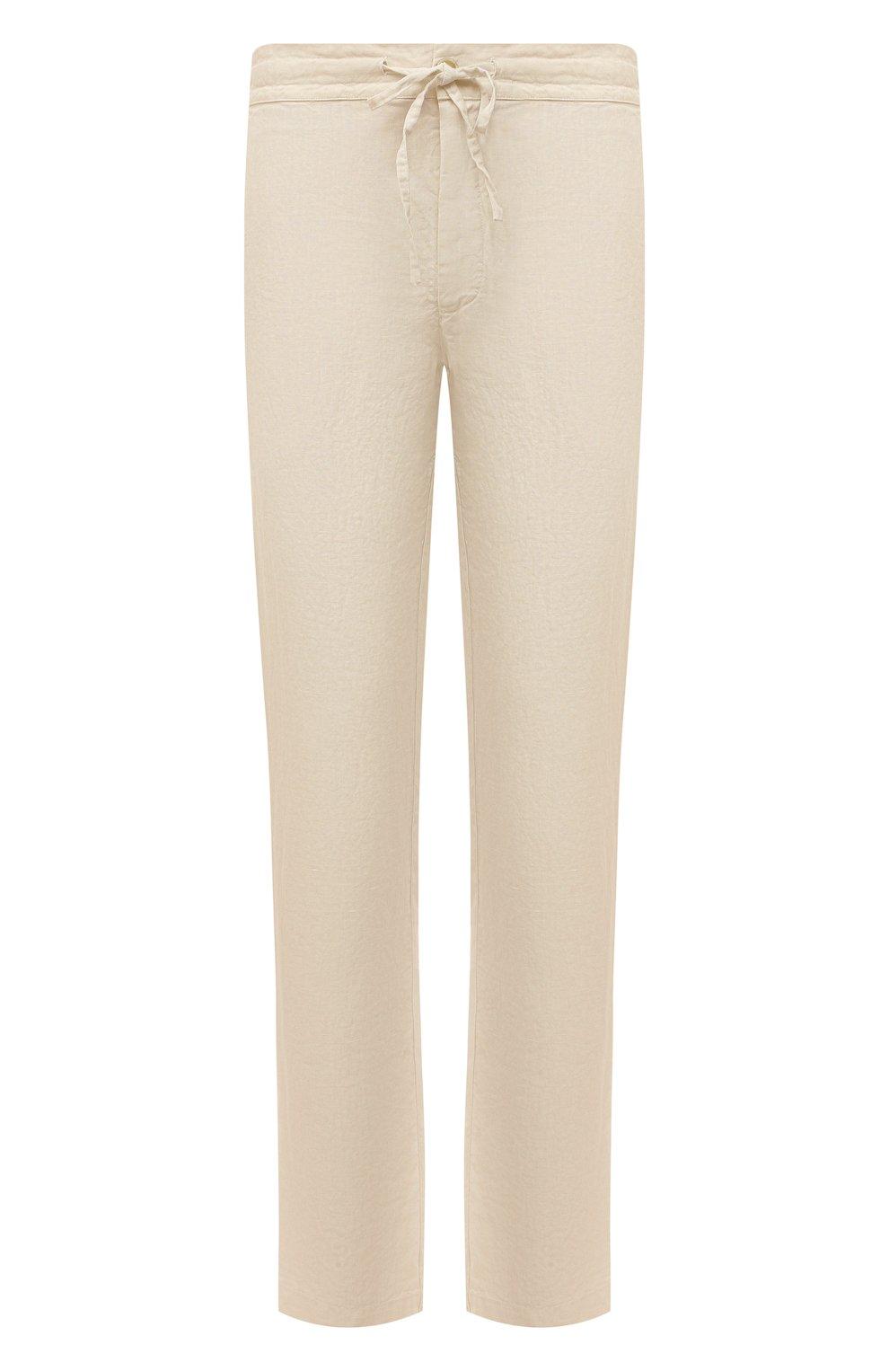 Мужские льняные брюки 120% LINO бежевого цвета, арт. T0M299M/0253/000   Фото 1 (Длина (брюки, джинсы): Стандартные; Случай: Повседневный; Материал внешний: Лен; Стили: Кэжуэл)