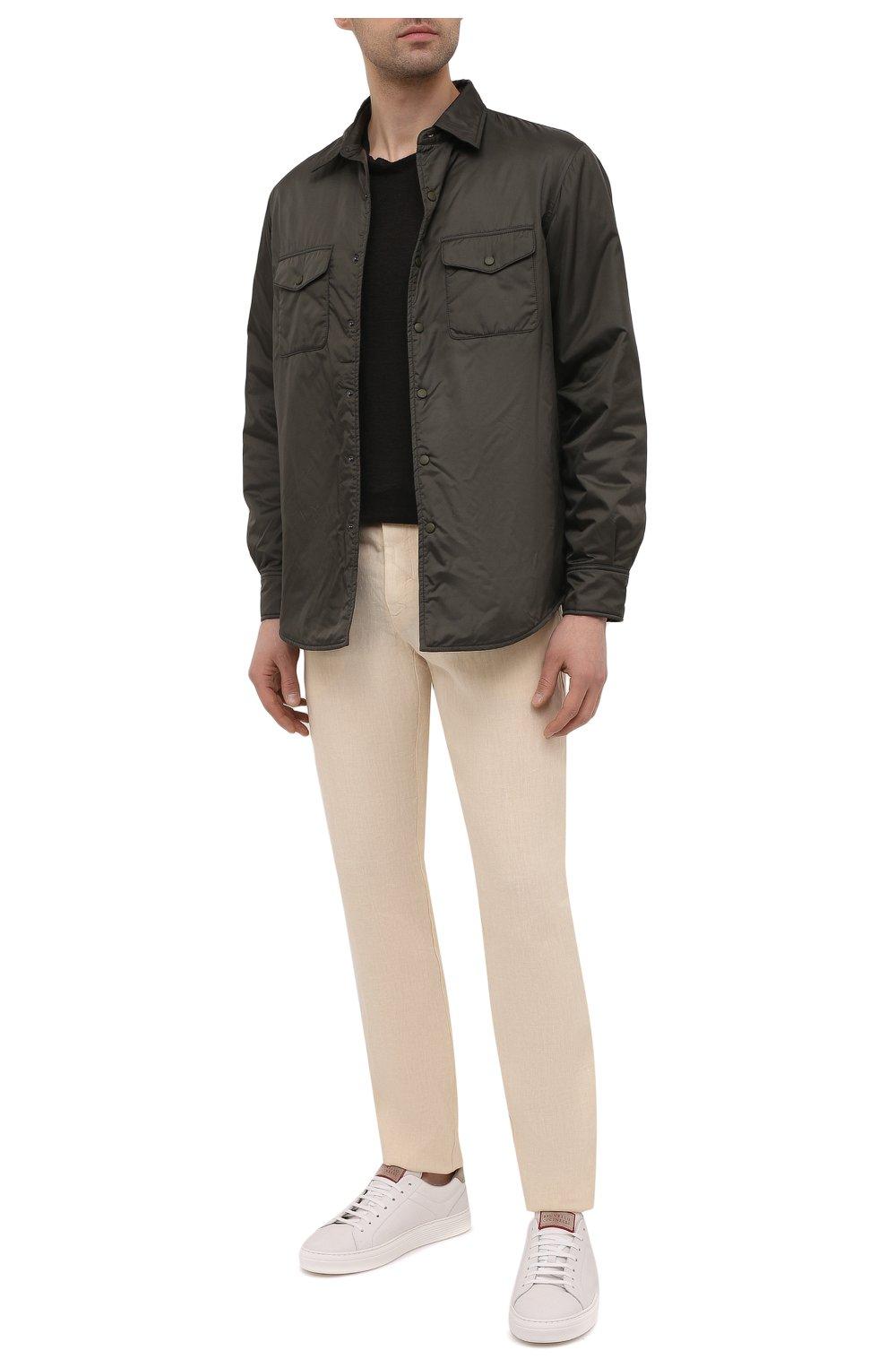 Мужские льняные брюки 120% LINO бежевого цвета, арт. T0M299M/0253/000   Фото 2 (Длина (брюки, джинсы): Стандартные; Случай: Повседневный; Материал внешний: Лен; Стили: Кэжуэл)