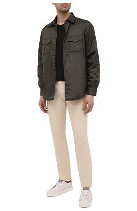 Мужские льняные брюки 120% LINO бежевого цвета, арт. T0M299M/0253/000 | Фото 2