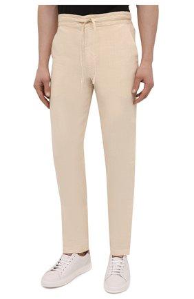 Мужские льняные брюки 120% LINO бежевого цвета, арт. T0M299M/0253/000   Фото 3 (Длина (брюки, джинсы): Стандартные; Случай: Повседневный; Материал внешний: Лен; Стили: Кэжуэл)