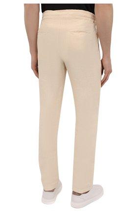 Мужские льняные брюки 120% LINO бежевого цвета, арт. T0M299M/0253/000   Фото 4 (Длина (брюки, джинсы): Стандартные; Случай: Повседневный; Материал внешний: Лен; Стили: Кэжуэл)