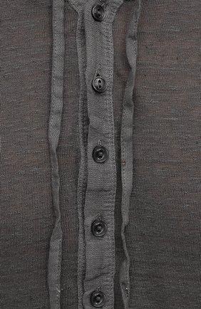 Мужская льняной лонгслив 120% LINO темно-серого цвета, арт. T0M7553/E908/S00   Фото 5 (Рукава: Длинные; Принт: Без принта; Длина (для топов): Стандартные; Материал внешний: Лен; Стили: Кэжуэл)