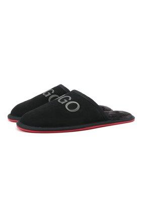 Мужского замшевые домашние туфли HUGO черного цвета, арт. 50431732 | Фото 1
