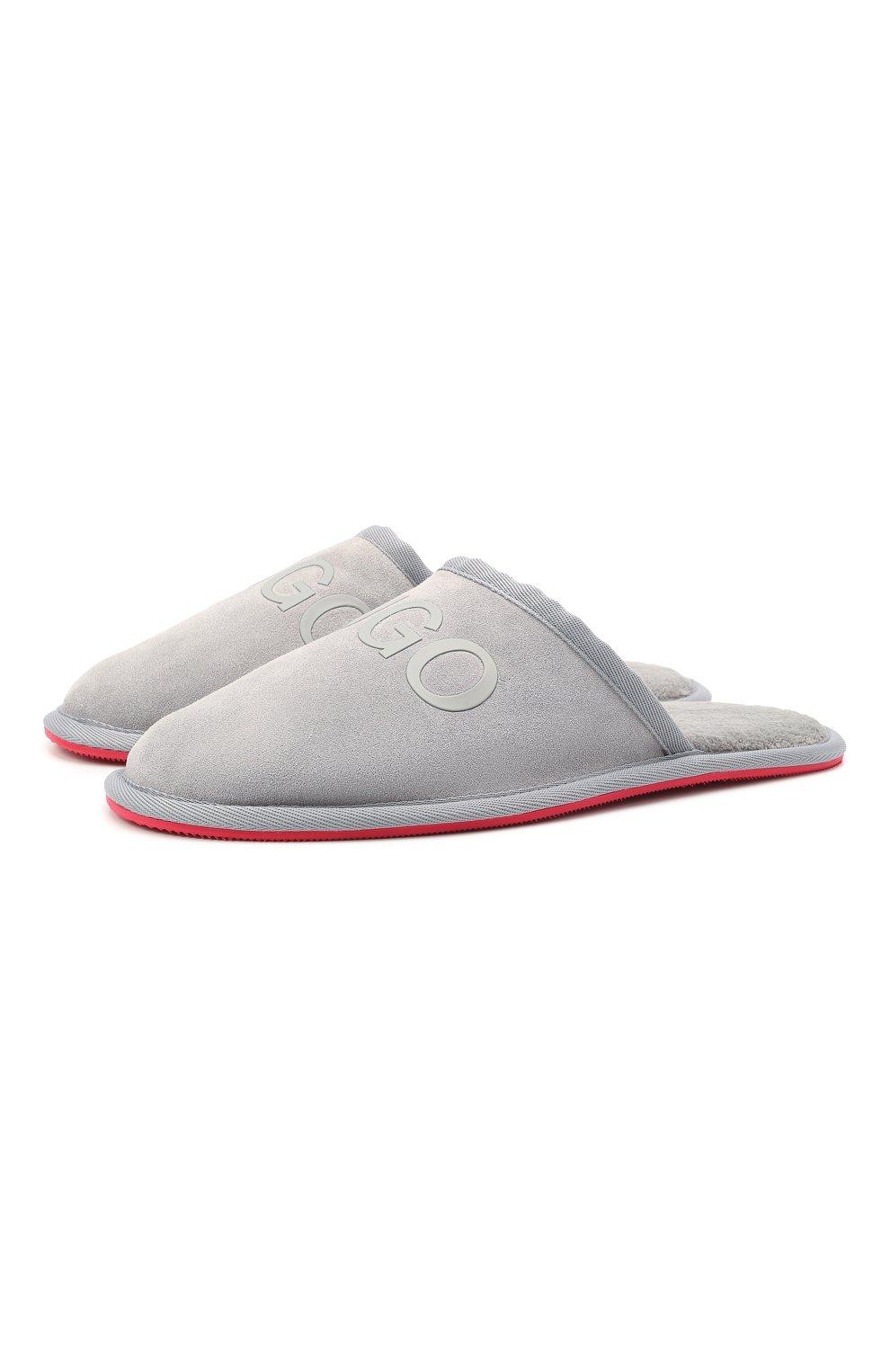 Мужского замшевые домашние туфли HUGO серого цвета, арт. 50431732   Фото 1 (Материал утеплителя: Экомех; Материал внешний: Замша; Мужское Кросс-КТ: тапочки-обувь)