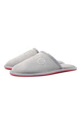 Мужского замшевые домашние туфли HUGO серого цвета, арт. 50431732 | Фото 1