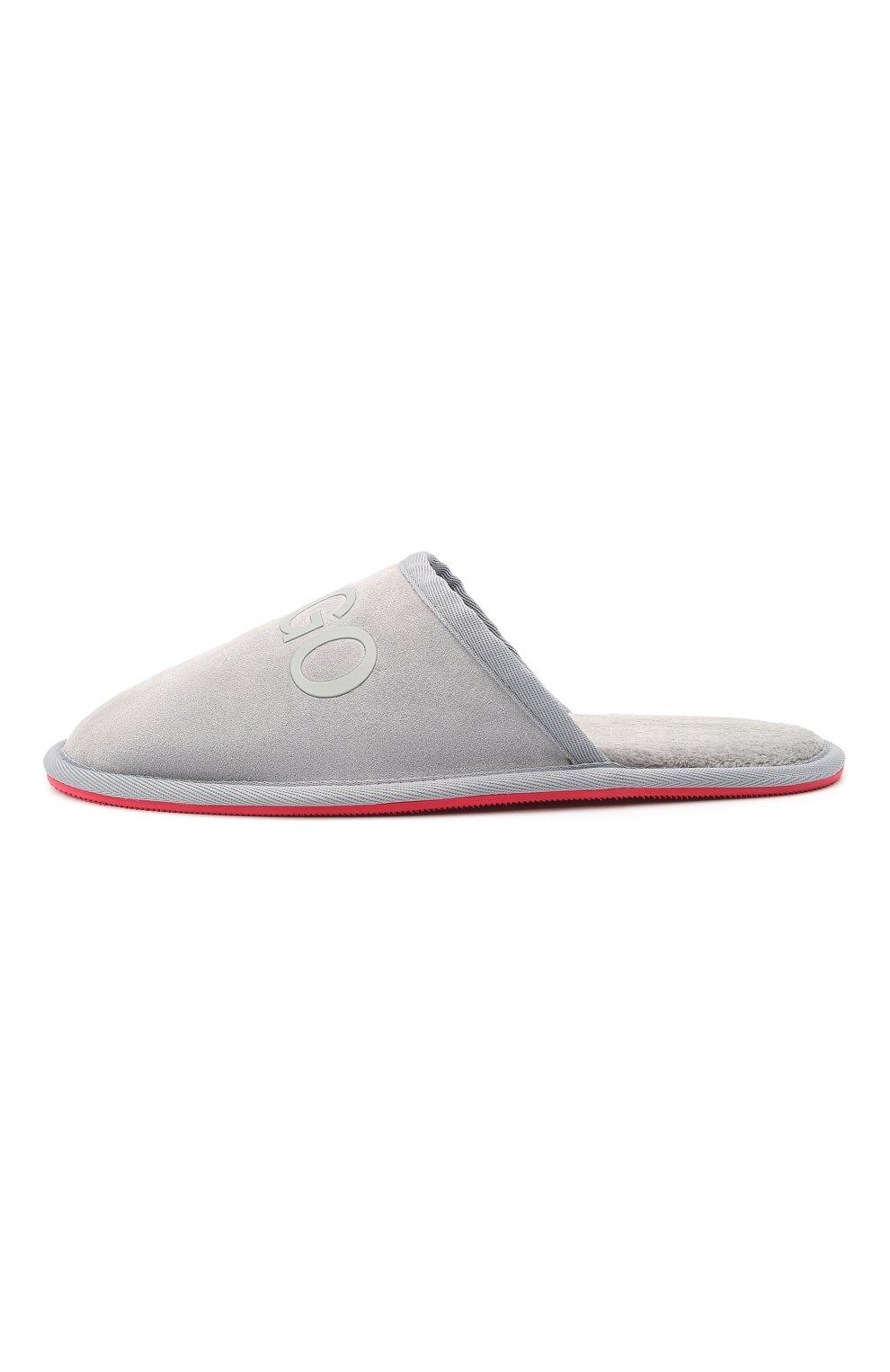 Мужского замшевые домашние туфли HUGO серого цвета, арт. 50431732   Фото 3 (Материал утеплителя: Экомех; Материал внешний: Замша; Мужское Кросс-КТ: тапочки-обувь)