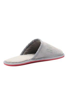 Мужского замшевые домашние туфли HUGO серого цвета, арт. 50431732   Фото 4 (Материал утеплителя: Экомех; Материал внешний: Замша; Мужское Кросс-КТ: тапочки-обувь)