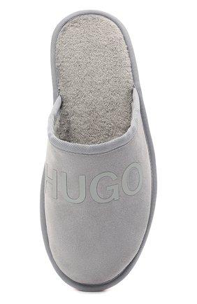 Мужского замшевые домашние туфли HUGO серого цвета, арт. 50431732   Фото 5 (Материал утеплителя: Экомех; Материал внешний: Замша; Мужское Кросс-КТ: тапочки-обувь)