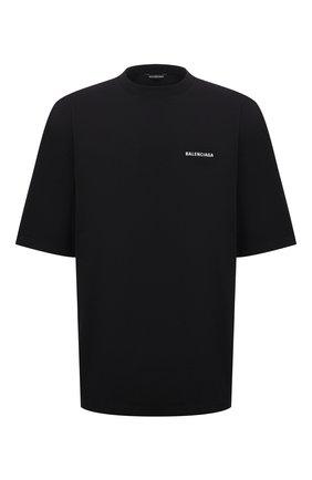 Мужская хлопковая футболка BALENCIAGA черного цвета, арт. 641614/TJVL4   Фото 1 (Рукава: Короткие; Длина (для топов): Удлиненные; Материал внешний: Хлопок; Принт: С принтом; Стили: Гранж)