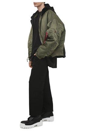 Мужская хлопковая футболка BALENCIAGA черного цвета, арт. 641614/TJVL4   Фото 2 (Рукава: Короткие; Длина (для топов): Удлиненные; Материал внешний: Хлопок; Принт: С принтом; Стили: Гранж)