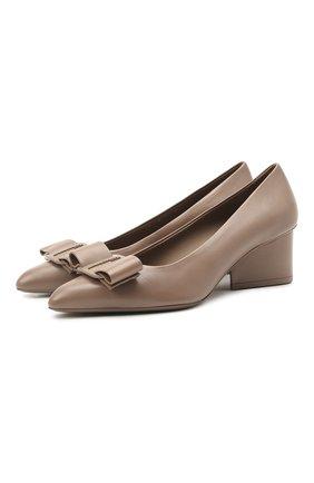 Женские кожаные туфли  viva SALVATORE FERRAGAMO темно-бежевого цвета, арт. Z-07410521C   Фото 1