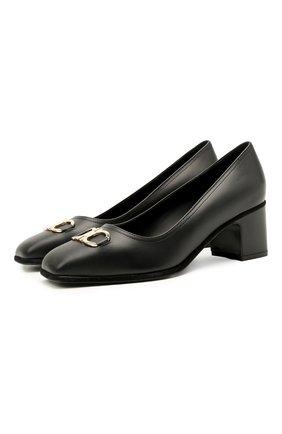 Женские кожаные туфли gancini SALVATORE FERRAGAMO черного цвета, арт. Z-07329481C | Фото 1