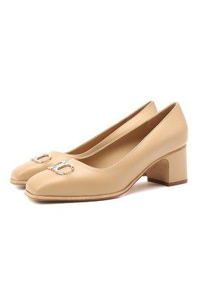 Женские кожаные туфли gancini SALVATORE FERRAGAMO бежевого цвета, арт. Z-07412161C   Фото 1
