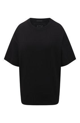 Женская хлопковая футболка ATM ANTHONY THOMAS MELILLO черного цвета, арт. AW1386-GAB | Фото 1
