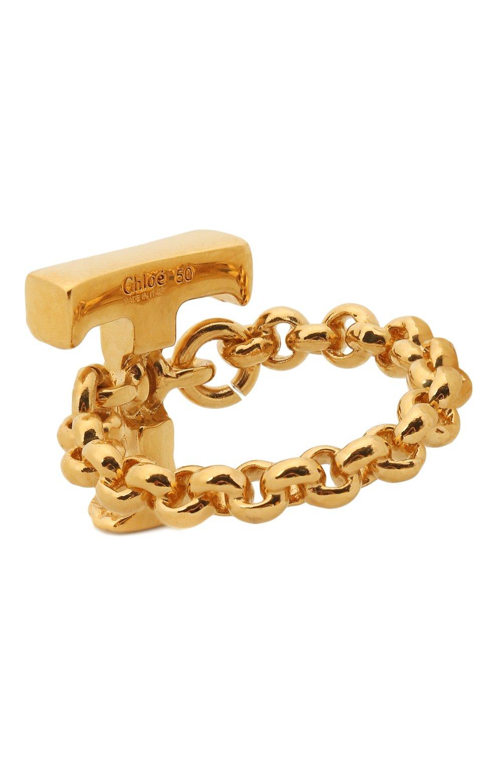 Женское кольцо alphabet t CHLOÉ золотого цвета, арт. CHC21SFR0TCB7   Фото 2