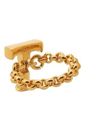 Женское кольцо alphabet t CHLOÉ золотого цвета, арт. CHC21SFR0TCB7 | Фото 2 (Материал: Металл)