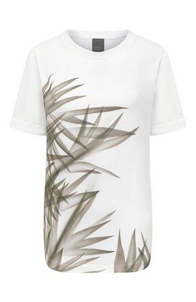 Женская хлопковая футболка LORENA ANTONIAZZI белого цвета, арт. P2162TS024/9999   Фото 1 (Рукава: Короткие; Длина (для топов): Стандартные; Материал внешний: Хлопок; Женское Кросс-КТ: Футболка-одежда; Принт: С принтом; Стили: Кэжуэл)