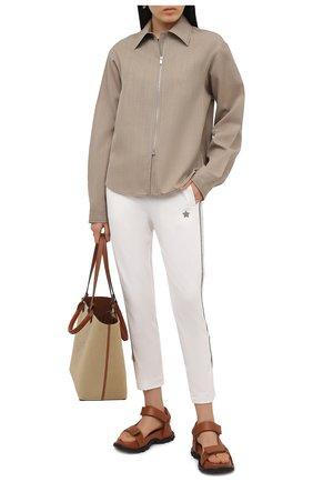 Женские хлопковые брюки LORENA ANTONIAZZI белого цвета, арт. P2141PA109/3187 | Фото 2