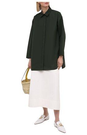 Женская хлопковая рубашка JIL SANDER темно-зеленого цвета, арт. JSWS606905-WS244200 | Фото 2